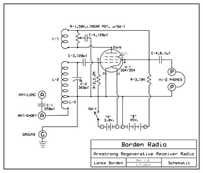 Why Does This Regenerative Receiver Not Just Turn Into An Oscillator moreover Uhf Fm Remote Control Receiver Circuit additionally 6sn7 additionally Borden armstrong one tube radio besides 08regrx. on regenerative receiver schematic