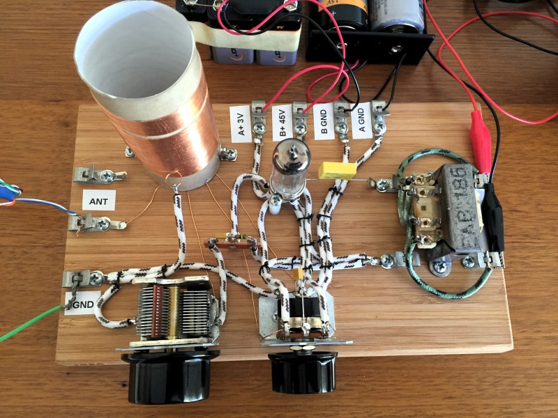borden radio built this clone using a 3a4 tube the object on the right is an impedance matching transformer for the headphones as in the schematic above he wired